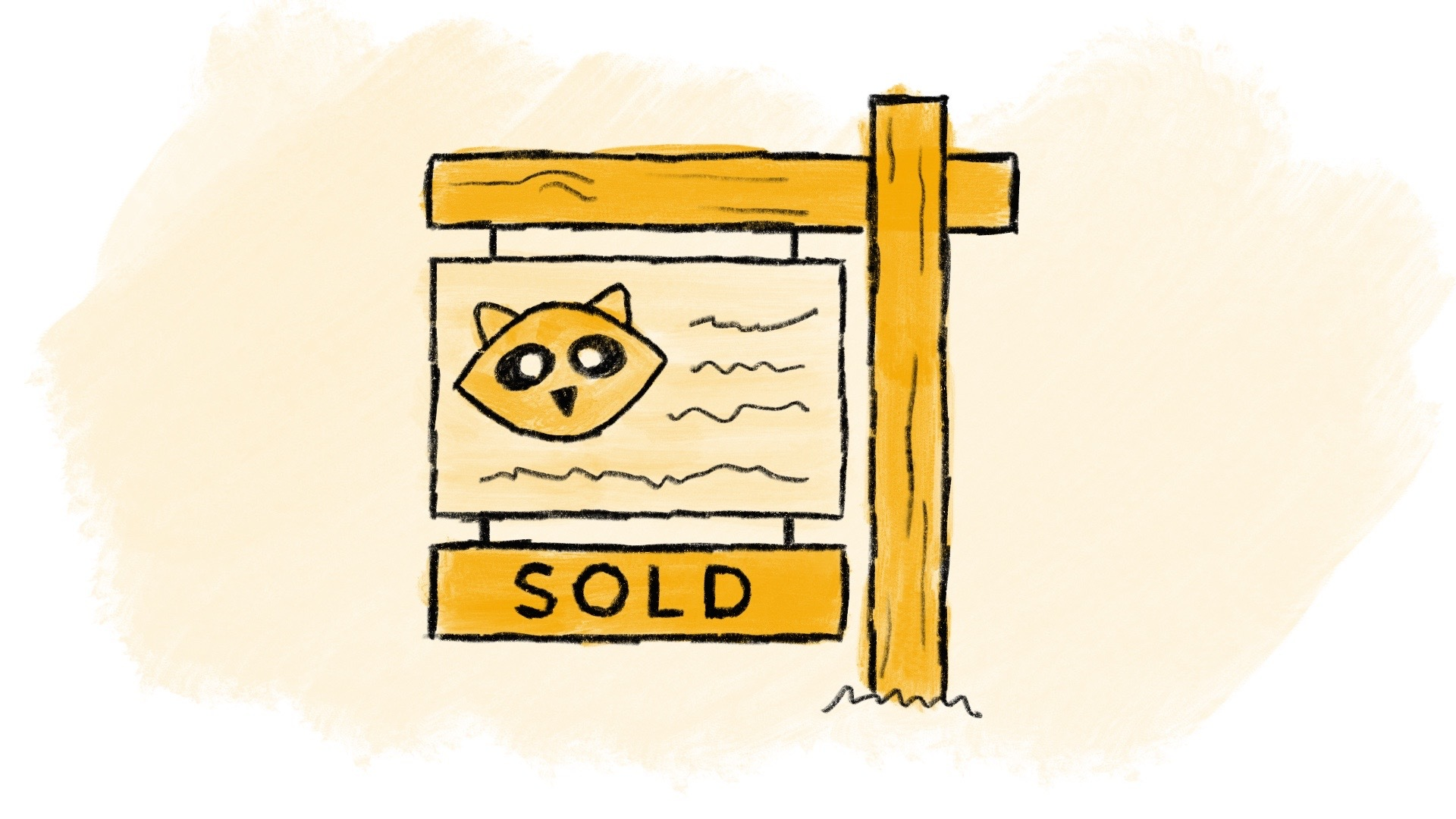 Illustrated house for sale sign