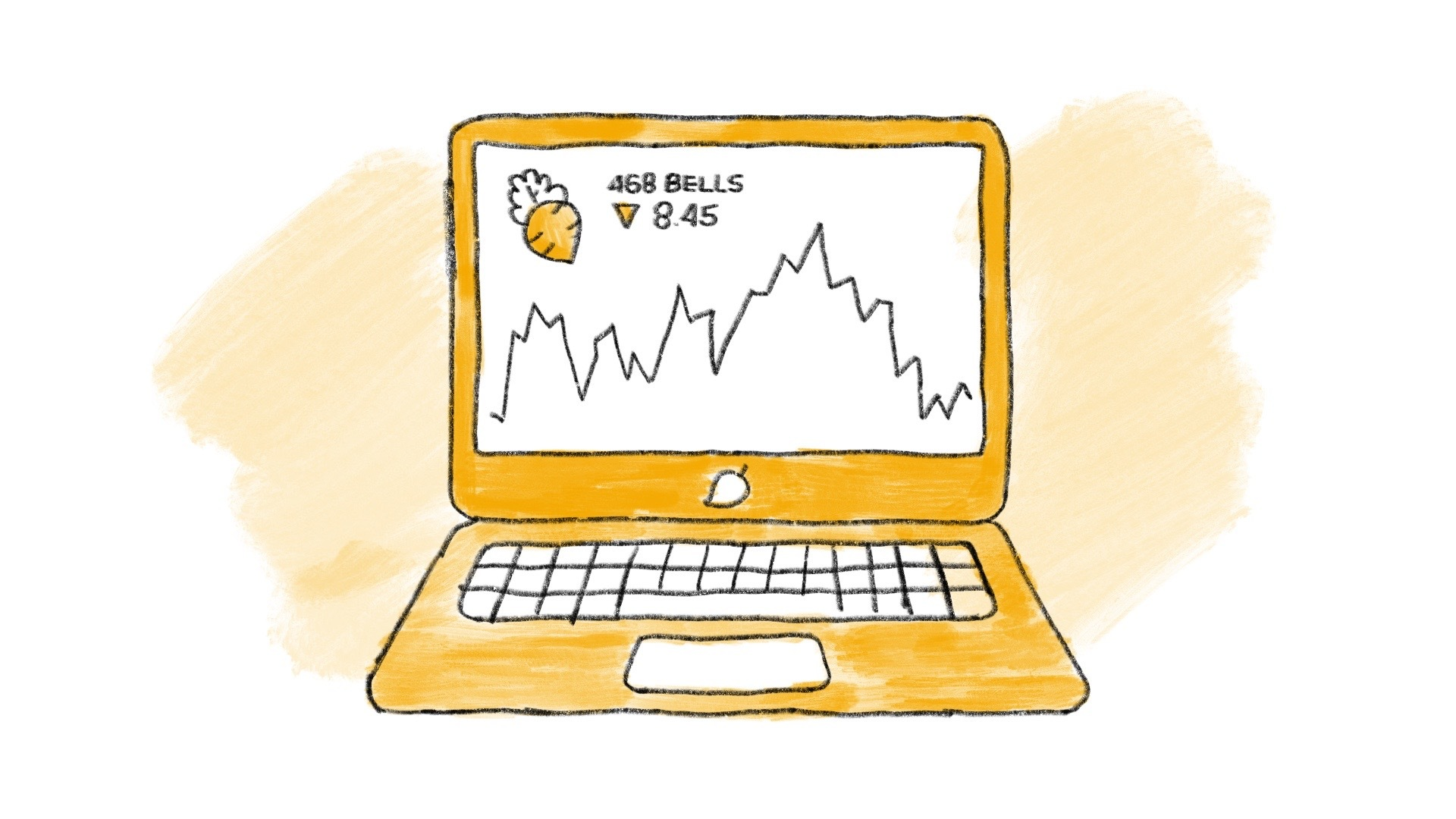 Illustrated stock market displayed on a computer