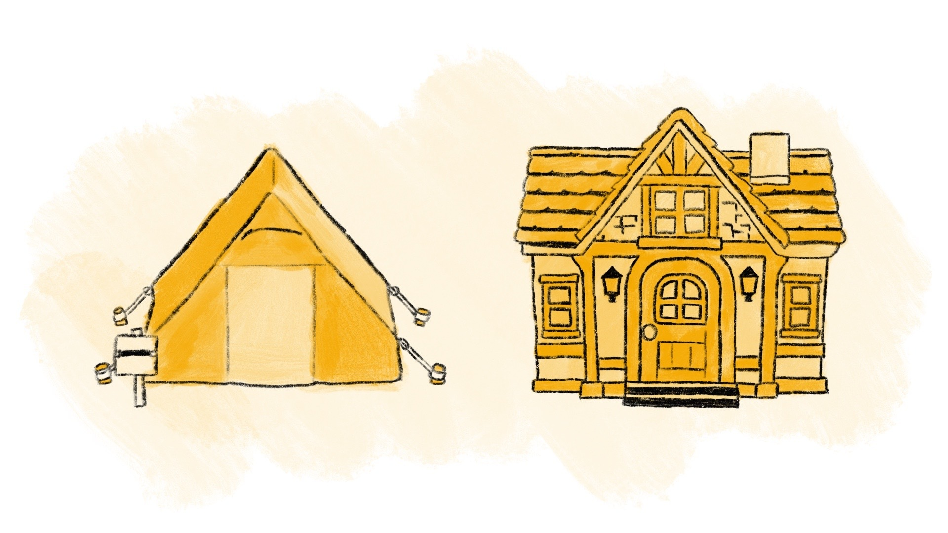 Illustrated tent and house