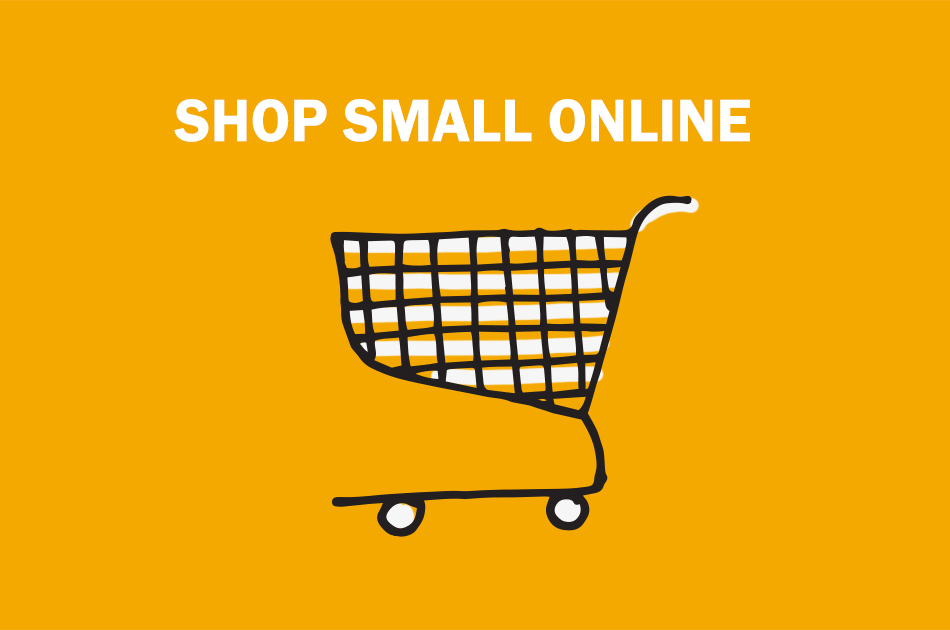 "A drawn shopping cart that says ""Shop small online""."