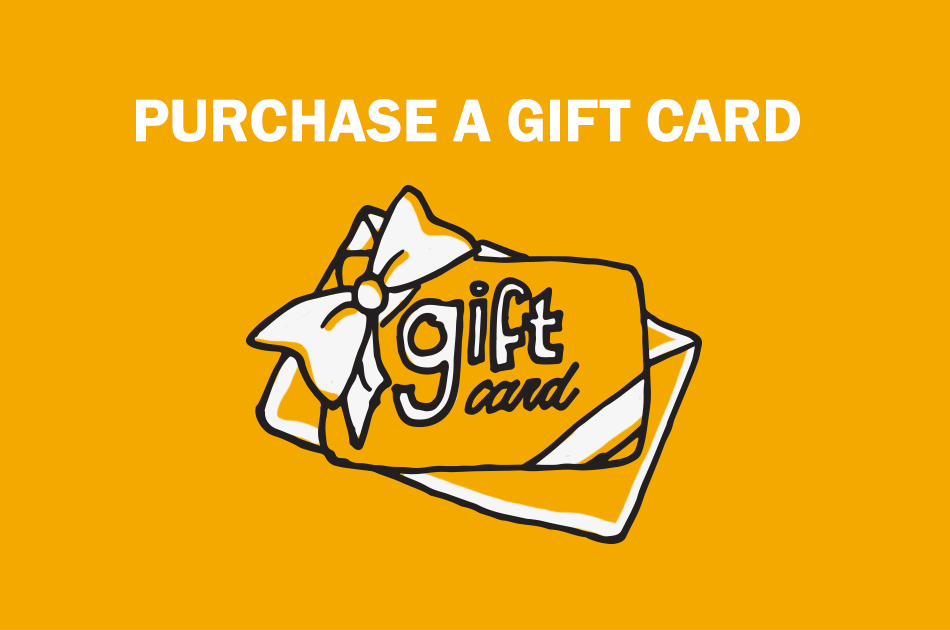 "A drawn gift card that says ""Purchase a gift card""."