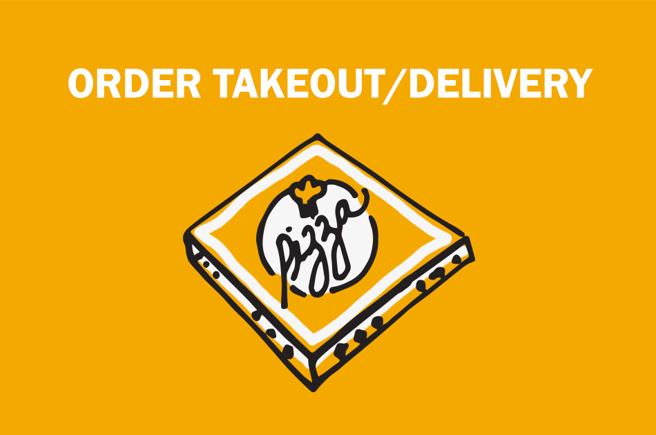 "A drawn pizza box that says ""Order takeout/delivery""."