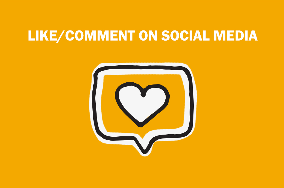 "A drawn social media notification that says ""Like/comment on social media""."